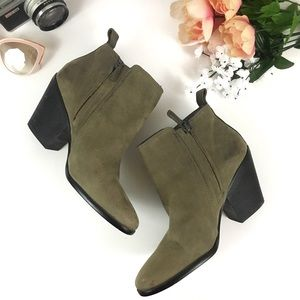 Cole Haan Grand OS Green Suede Ankle Booties Sz 8
